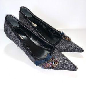 Prada Gray Tweed Crystal Embossed Pumps 37.5